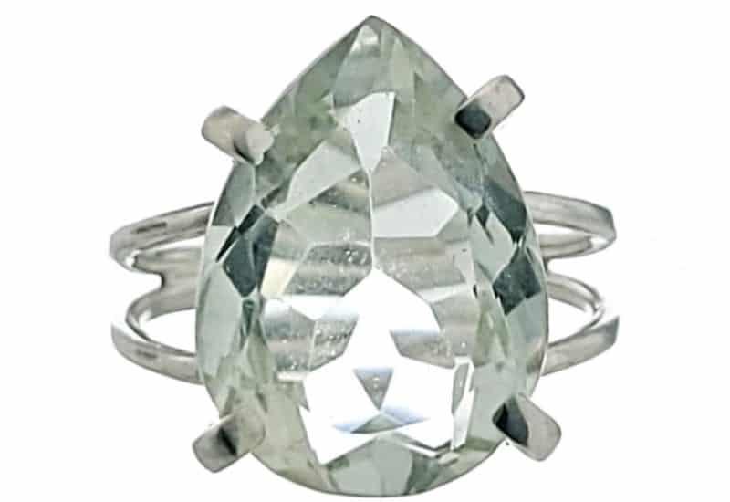 Anillo plata 925 con lágrima de Cuarzo Prasio