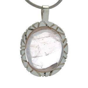 Colgante con piedra natural de cuarzo rosa en plata 925