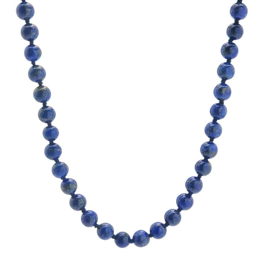 Collar bolas de 6 mm. de lapislázuli de 41 centímetros + 3 de extensión (4)