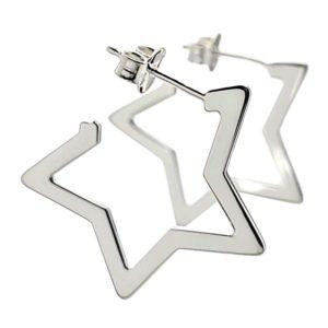 Argollas estrellas en plata 925 de 23 mm. con cierre presión
