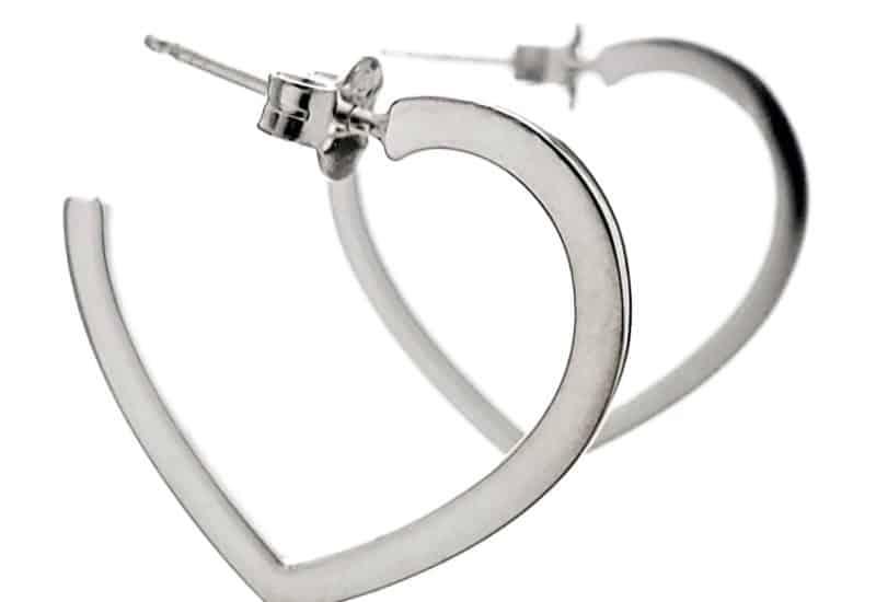 Argollas corazones en plata 925 de 21 mm. con cierre presión