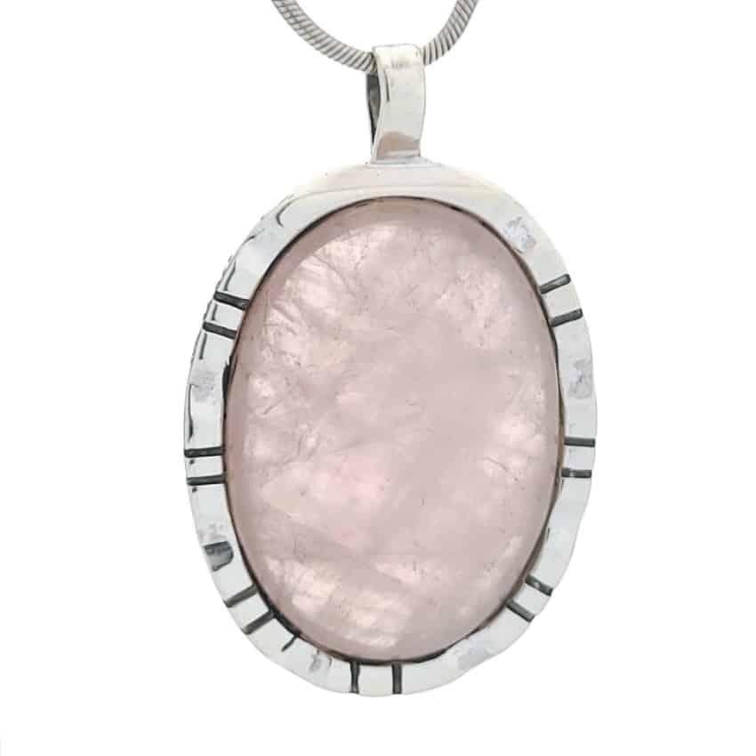 Colgante piedra de cuarzo rosa oval en plata 925 (2)