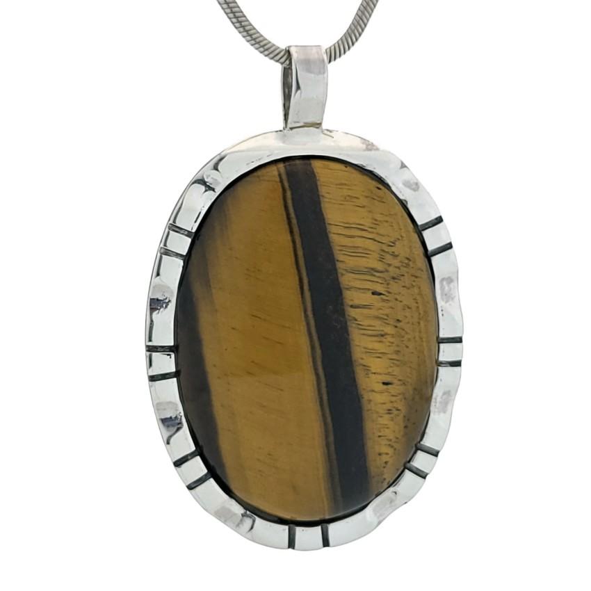 Colgante piedra de ojo de tigre en plata 925 (2)