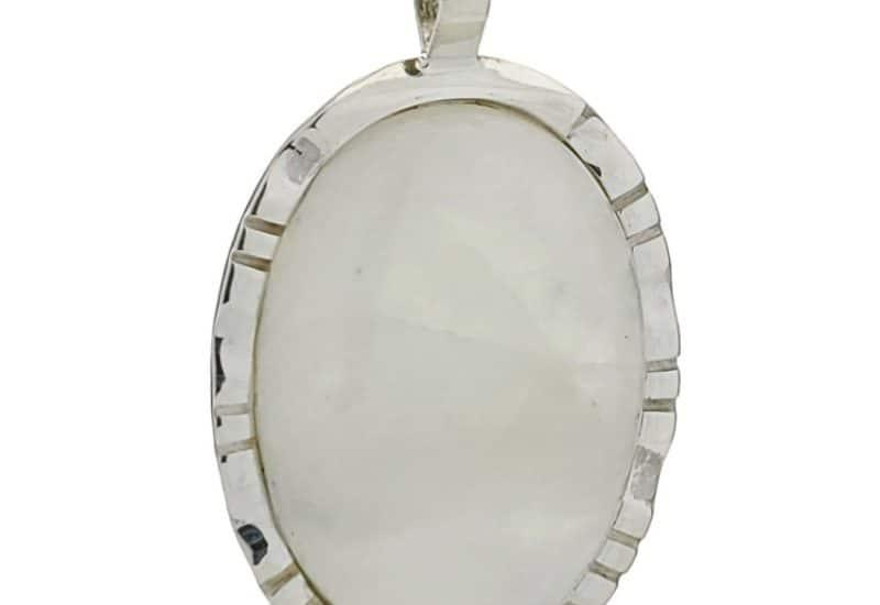 Colgante piedra luna de base oval en plata 925