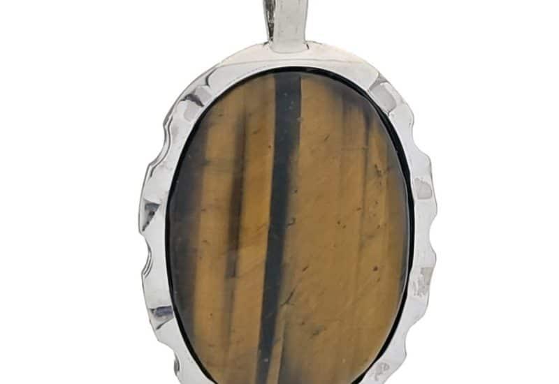 Colgante plata con piedra oval de ojo de tigre