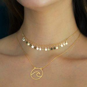 gargantillas estrellas y ola en plata chapada en oro