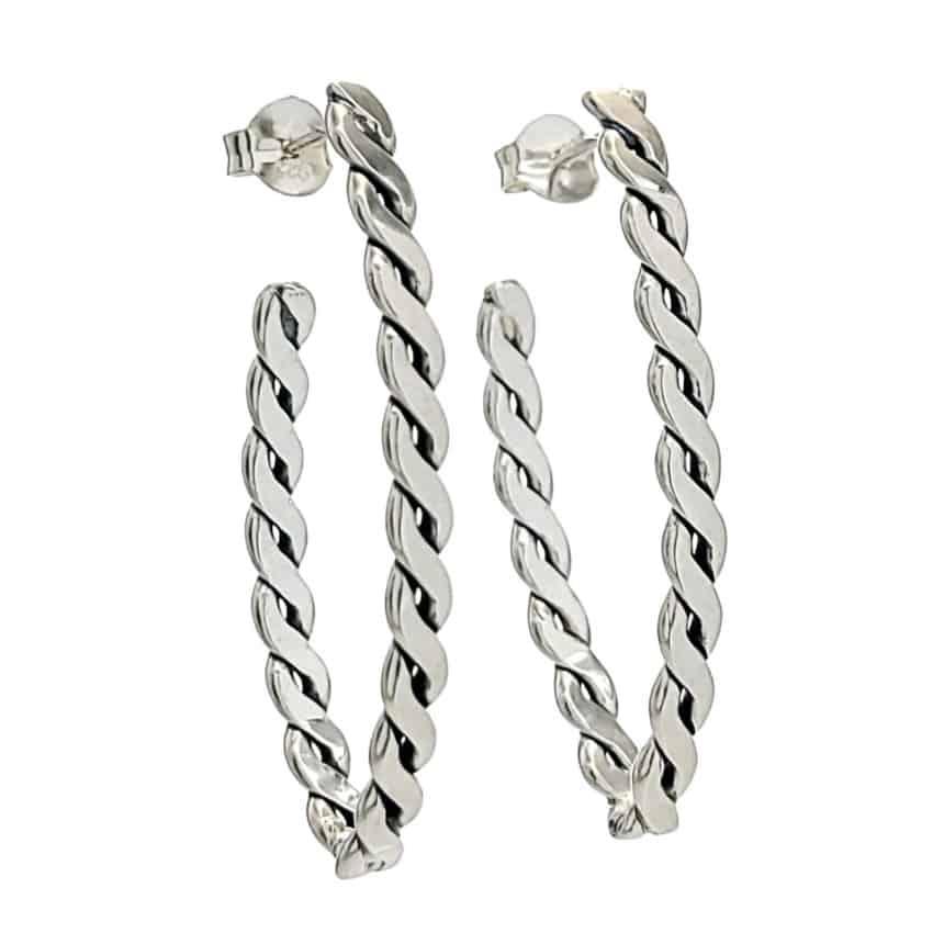 Pendientes diseño marquise trenzado de plata (2)
