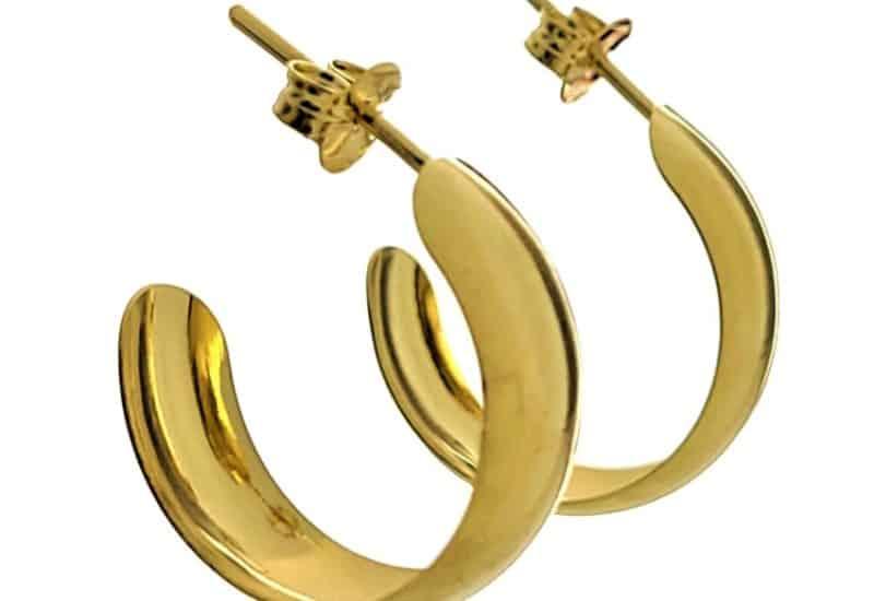 Aros 20 mm. media caña lisos en plata 925 chapados en oro