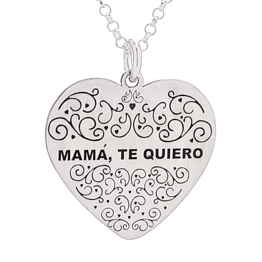 Colgante corazón mamá te quiero en plata 925 (1)