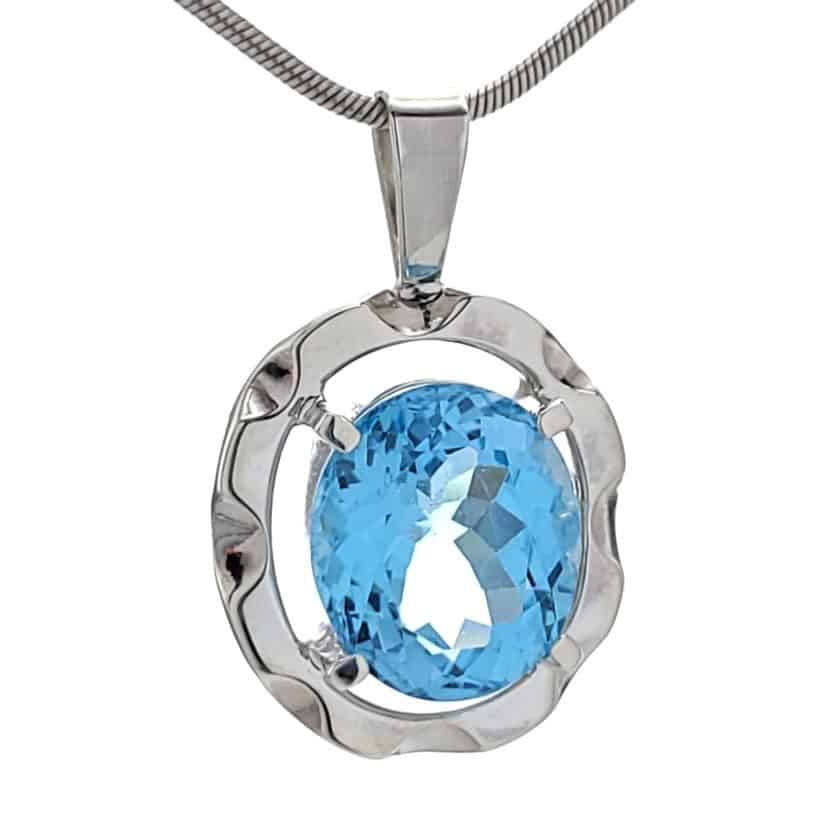 Colgante topacio azul joya exclusiva hecha a mano en plata 925 (5)
