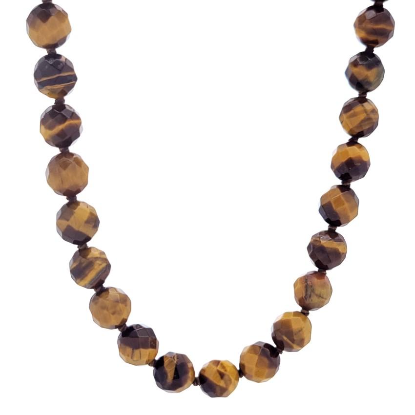 Collar bolas facetadas de 8 mm. de Ojo de Tigre x 45 cms de largo (3)