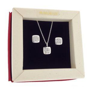 Conjunto de circonitas en plata 925, colgantes y pendientes.