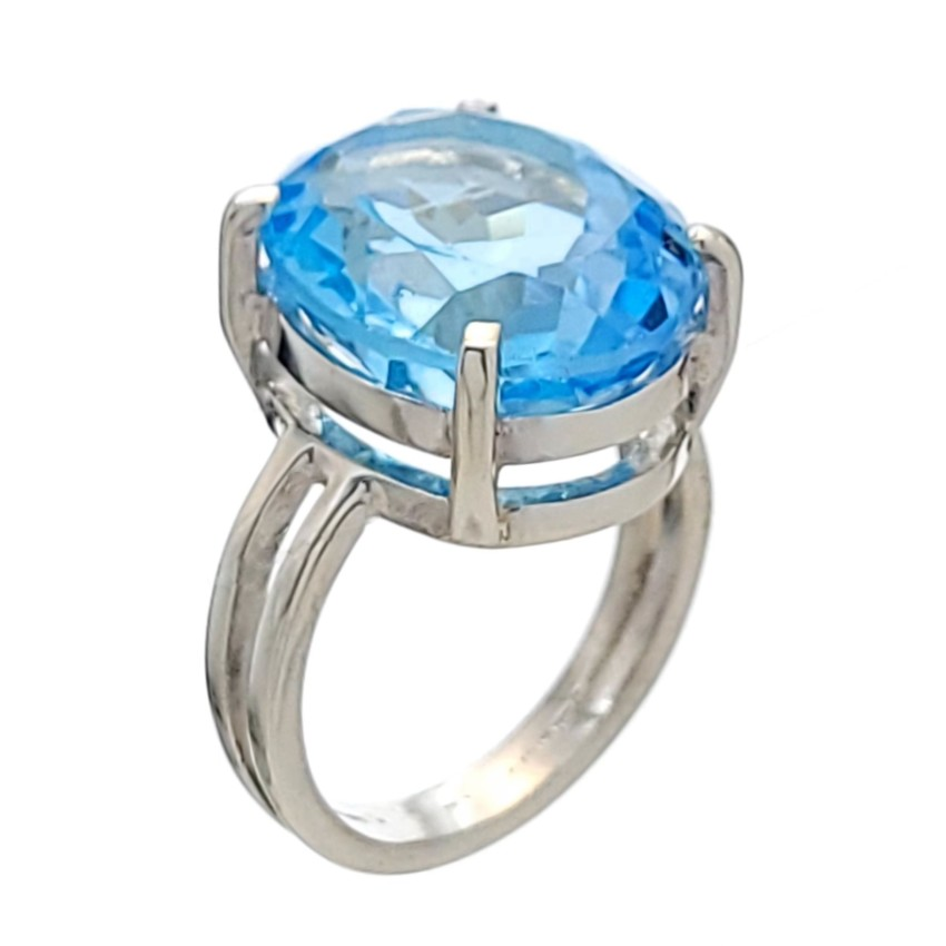 Anllo Topacio azul en plata 925 diseño doble aro con bata de luz (3)