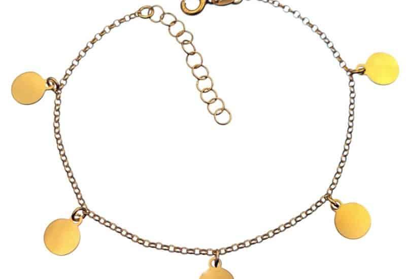 Pulsera 6 chapitas redondas de plata chapadas en oro