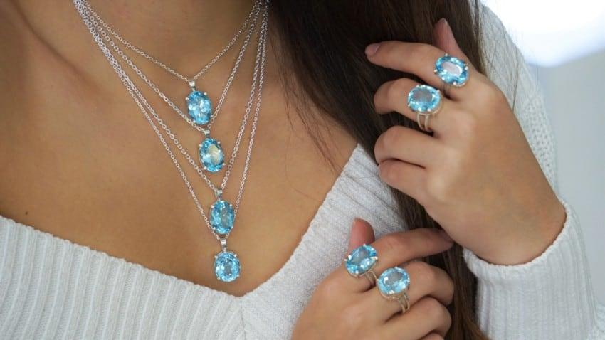 Nuevas joyas de topacio azul