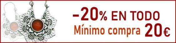 -20% EN TODO (El mínimo de compra para obtener este descuento es de 20 €)