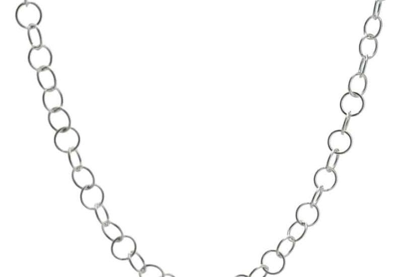 Cadena plata choker eslabones redondos de 40 cms.