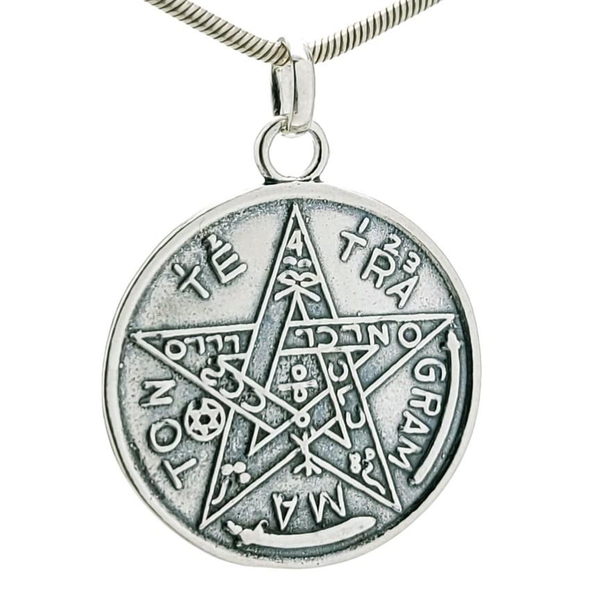 Colgante tetragramatón pentagrama en plata (4)