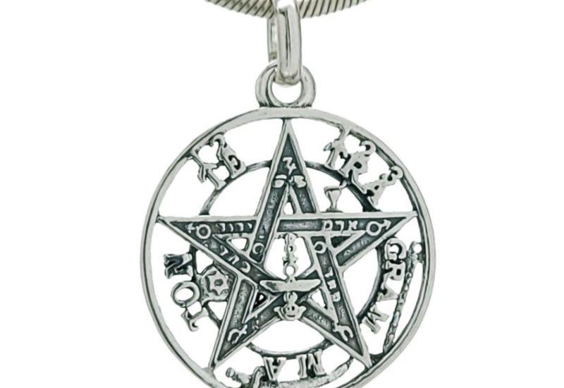 Colgante tetragramatón de plata 925 de 20×27 mm