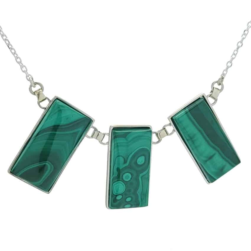 Gargantilla, collar tres malaquitas rectangulares en plata (4)