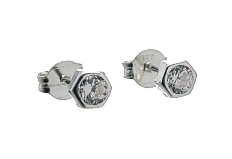 Mini pendientes hexágonos con circonita blanca en plata