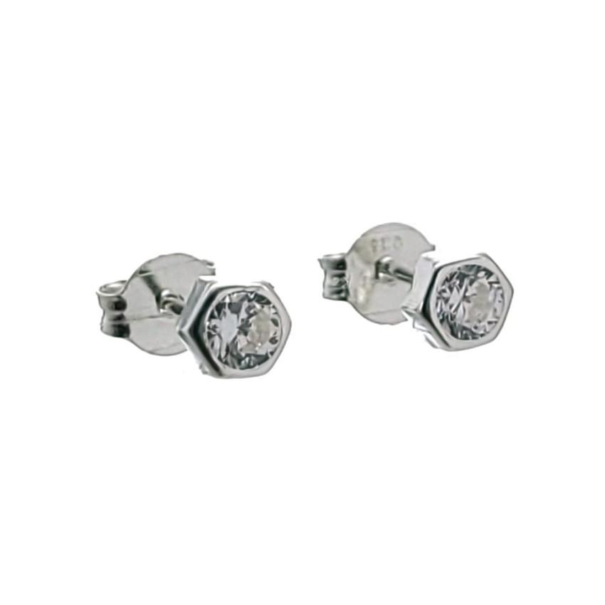 Mini pendientes hexágonos con circonita blanca en plata (2)