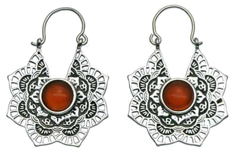 Pendientes aros diseño mandala de plata 925 con ágata cornalina