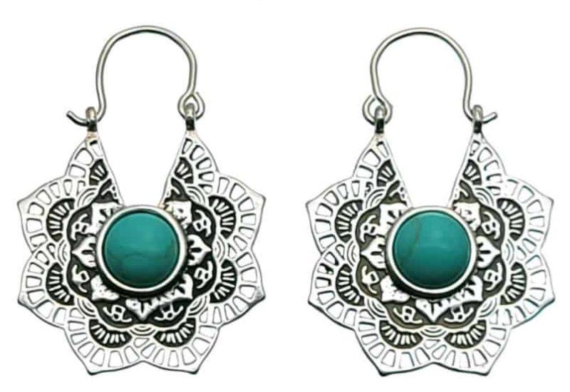 Pendientes aros diseño mandala de plata 925 con howlita azul