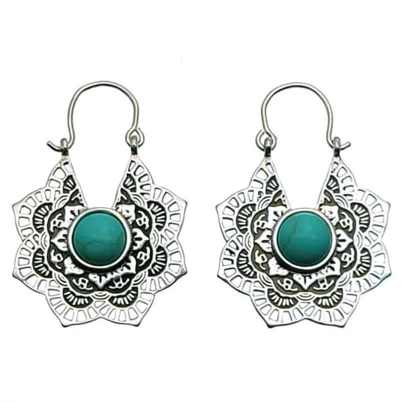 Pendientes mandala plata con piedra de howlita azul (3)
