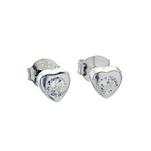 Mini pendientes corazón de circonita en plata 925