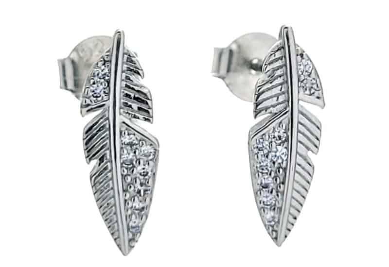 Pendientes plumas con circonitas en plata 925 rodiada.