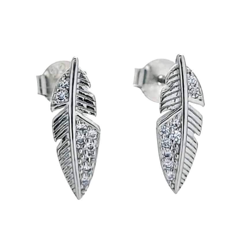 Pendientes plumas con circonitas en plata 925 rodiada (3)