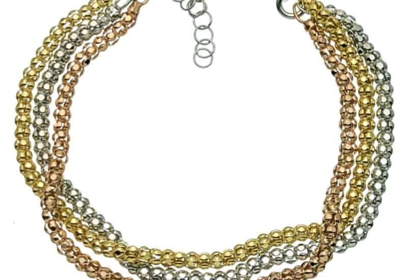 Pulsera plata tricolor (oro, rodio, cobre)