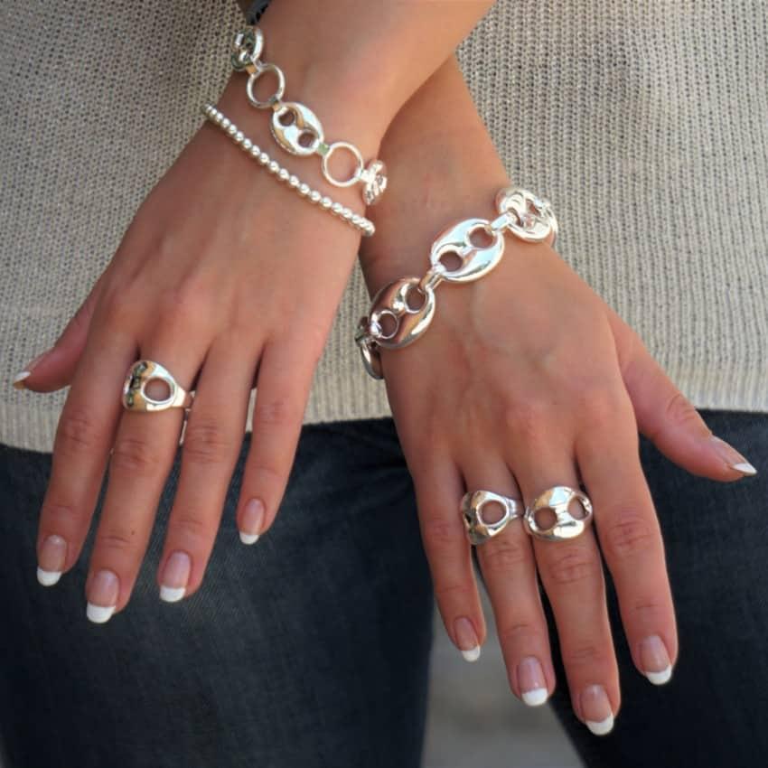 Joyas de calabrote también llamadas nudo de barco en plata 925, anillos y pulseras