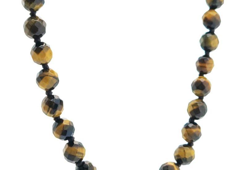 Collar bolas facetadas de 6 mm. de Ojo de Tigre x 45 cms de largo