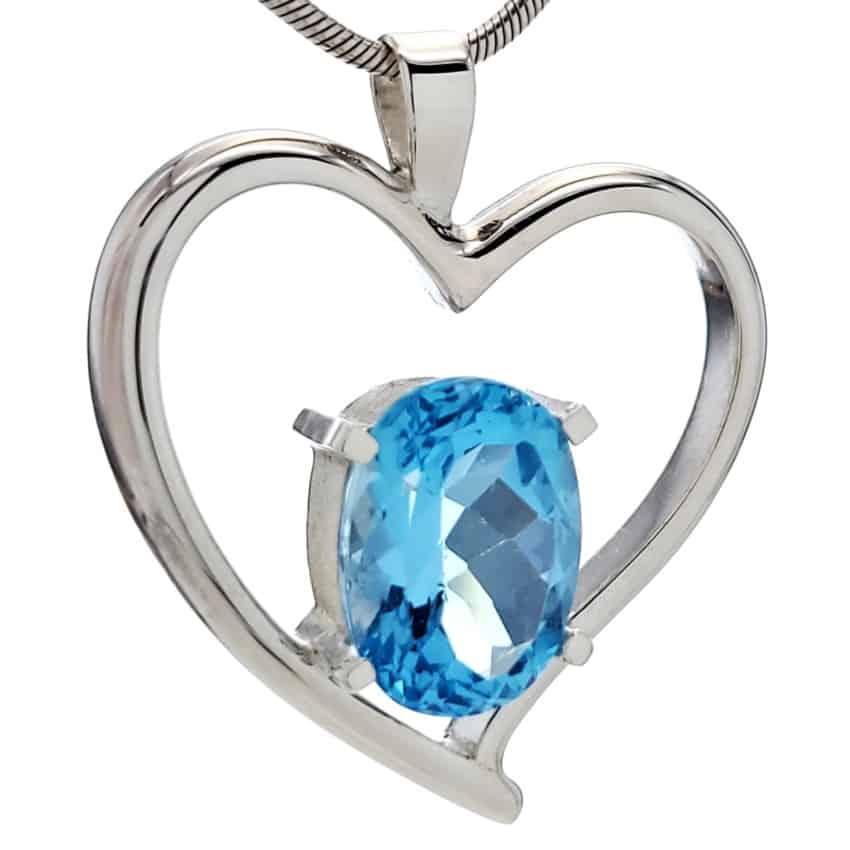 Colgante corazón de plata 925 con piedra de topacio azul (5)