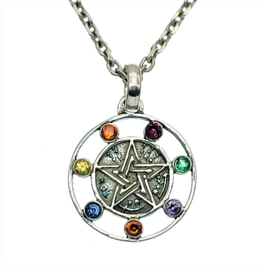 Colgante pentagrama con los siete chakras en plata 925 (2)