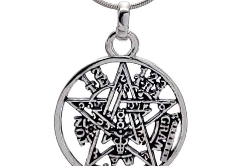 Colgante pentagrama tetragramatón de plata 925 de 25 x 18 mm.