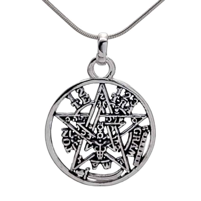 Colgante pentagrama tetragramatón de plata 925 de 25 x 18 mm (2)