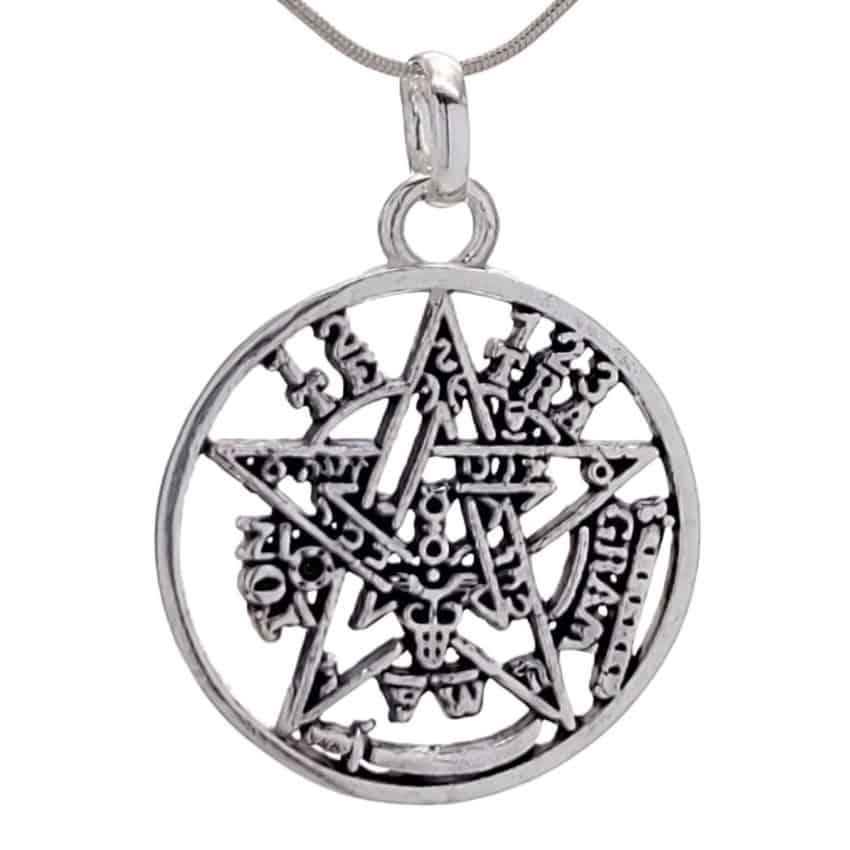 Colgante pentagrama tetragramatón de plata 925 de 32 x 23 mm (2)