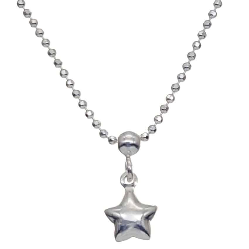 Tobillera bolitas plata con colgante estrella (3)