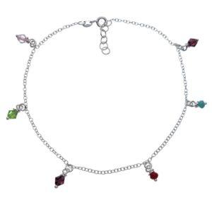Tobillera plata con seis cristales de colores