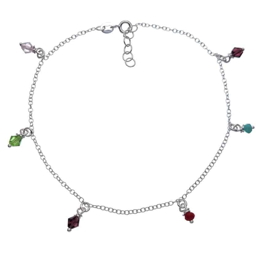 Tobillera plata con seis cristales de colores (1)