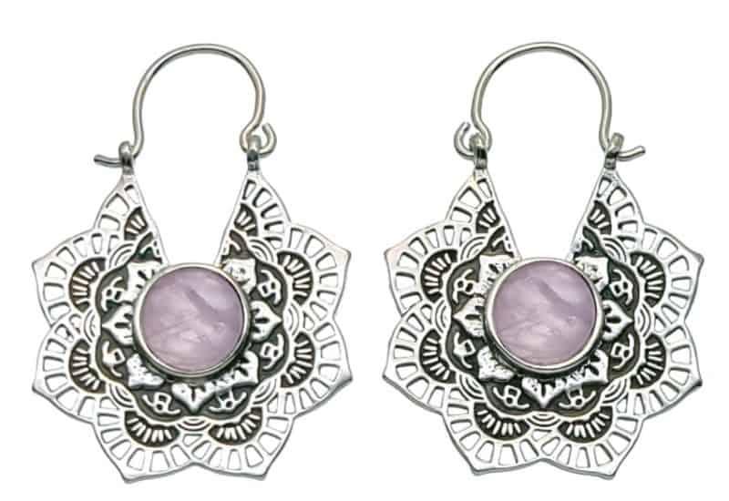 Pendientes étnicos de plata diseño mandala de cuarzo rosa