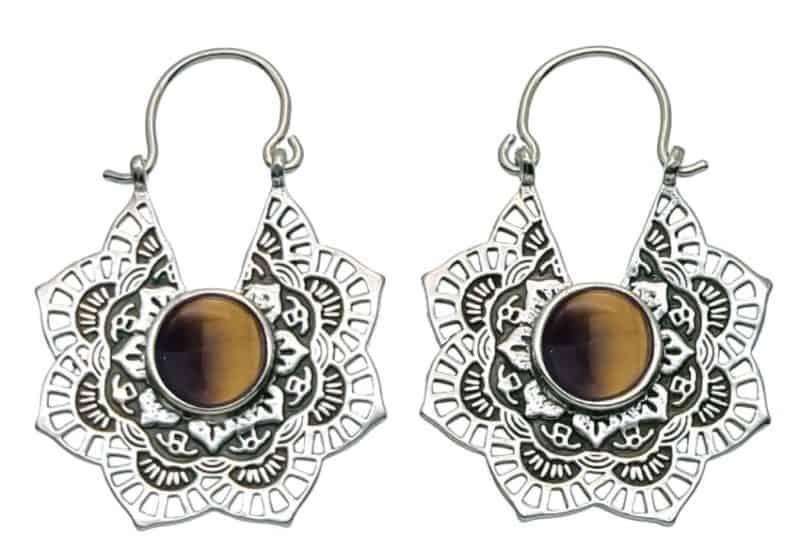 Pendientes plata diseño mandala con piedra de ojo de tigre