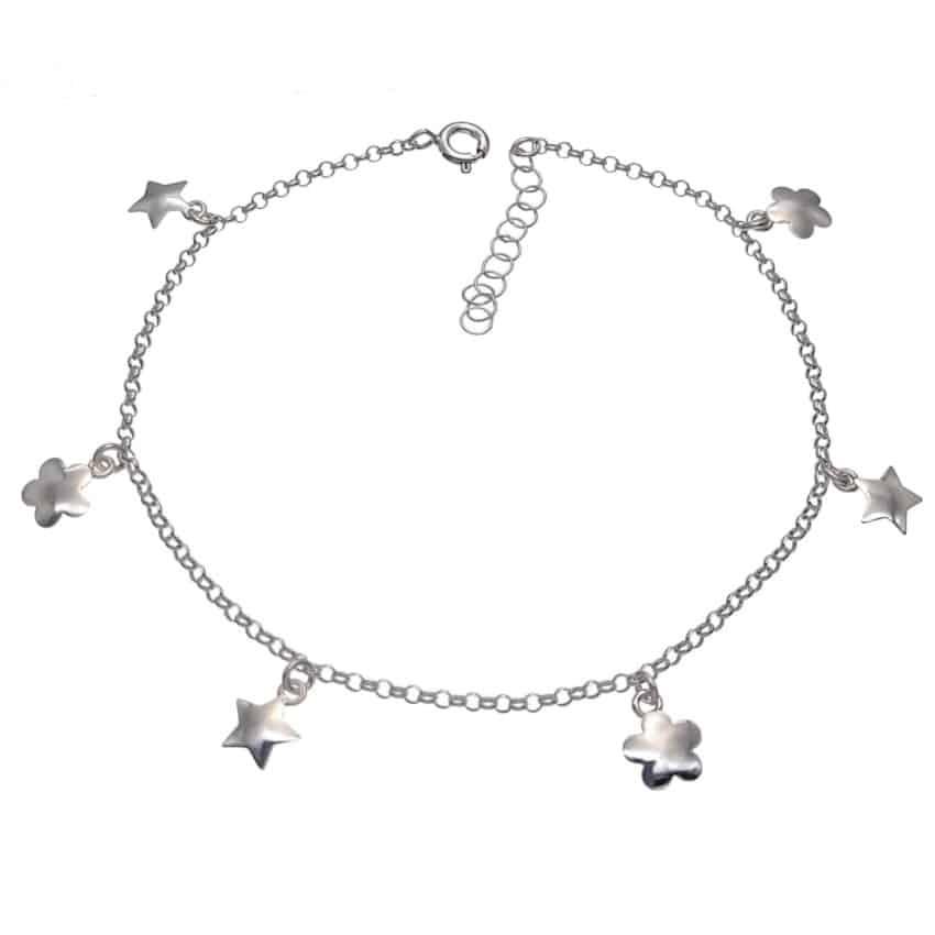 tobillera plata estrellas y flores (2)