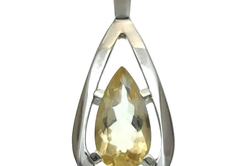 Colgante plata con piedra semipreciosa de citrino de talla en lágrima