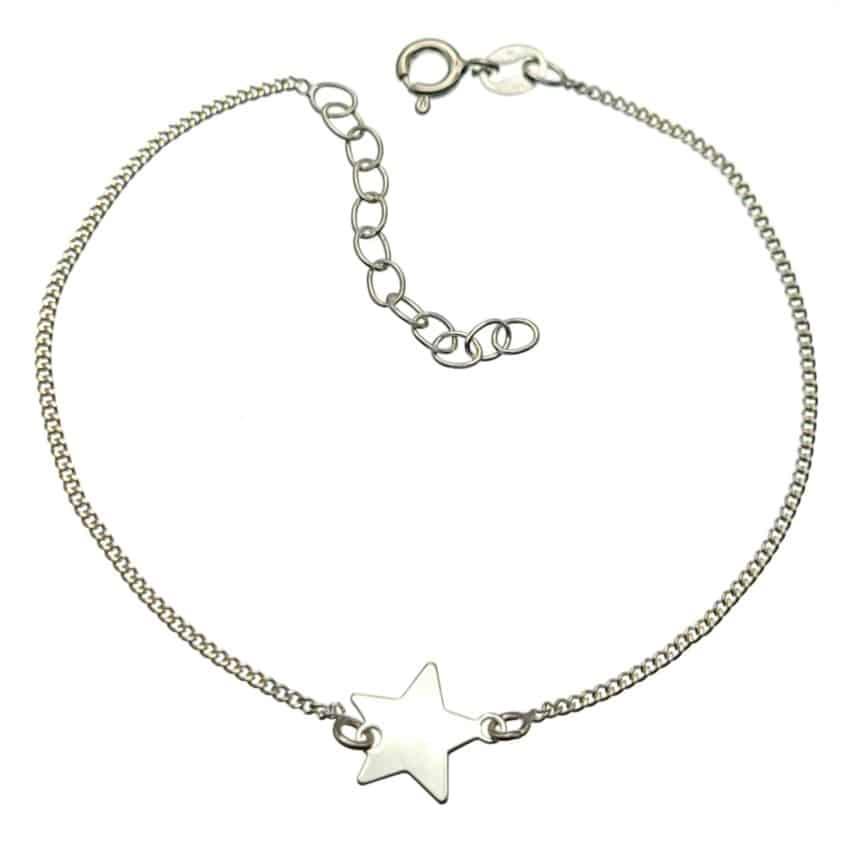 Pulsera cadenita barbada con estrella central en plata 925 (2)