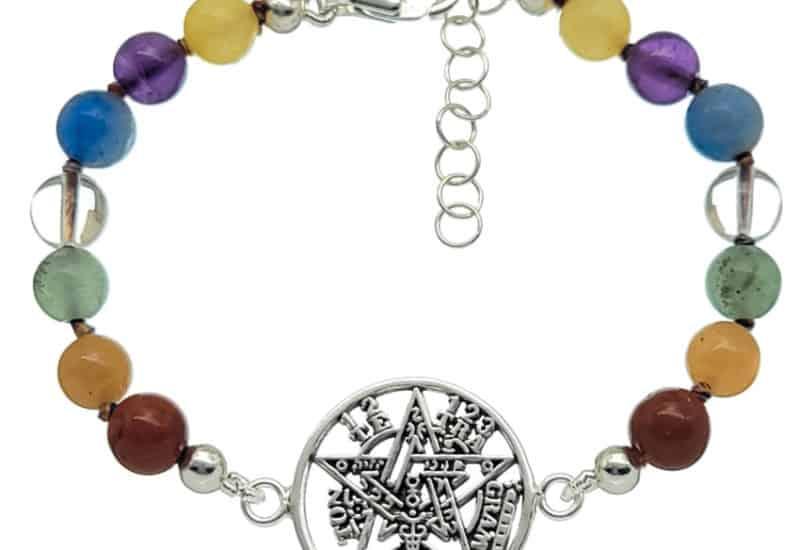 Pulsera chakras con tetragramatón en plata 925