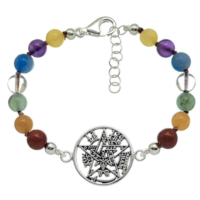 Pulsera de los chakras con tetragramatón de plata-22